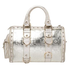 Versace Metallic Gold Leather Snap Out Of It Satchel