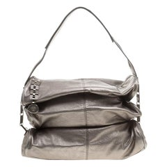 Versace Metallic Grey Leather Hobo
