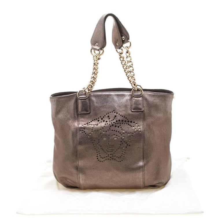 Versace Metallic Perforated Logo Leather Chain Hobo For Sale 7