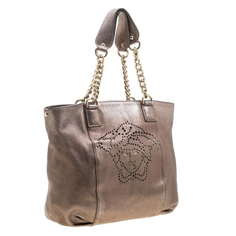 Women's Versace Metallic Perforated Logo Leather Chain Hobo For Sale