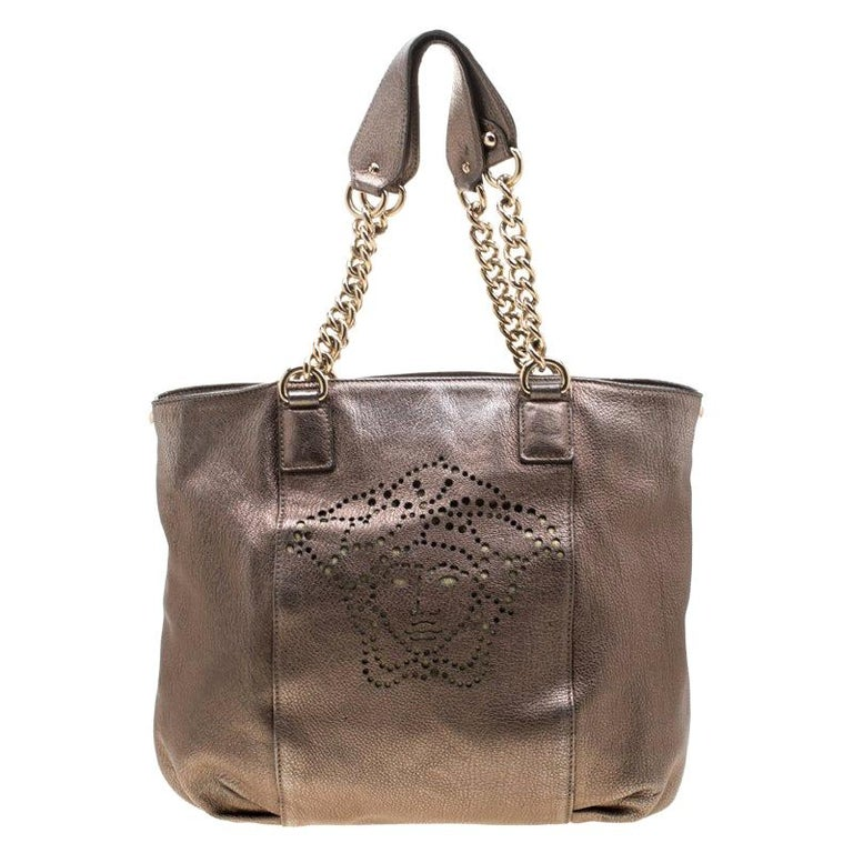 Versace Metallic Perforated Logo Leather Chain Hobo For Sale