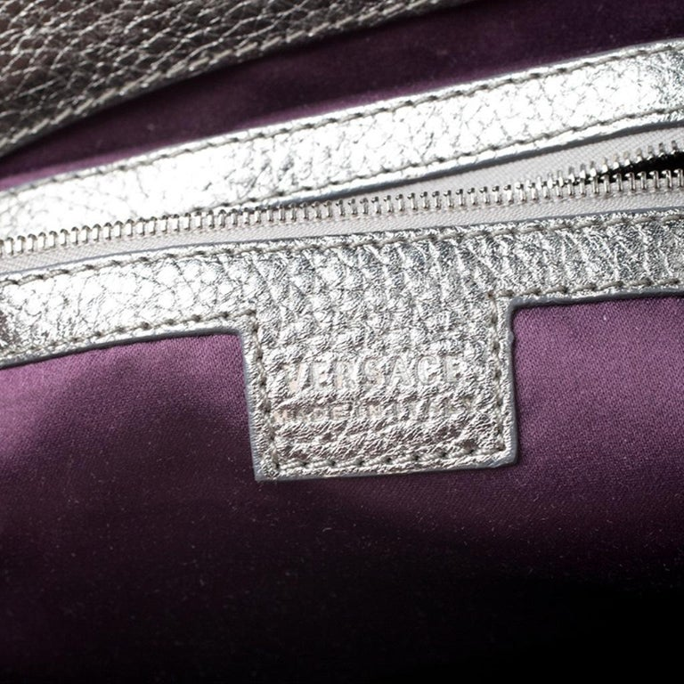 Versace Metallic Silver Leather Chain Link Satchel For Sale 6