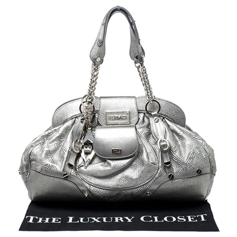 Versace Metallic Silver Leather Chain Link Satchel For Sale 7