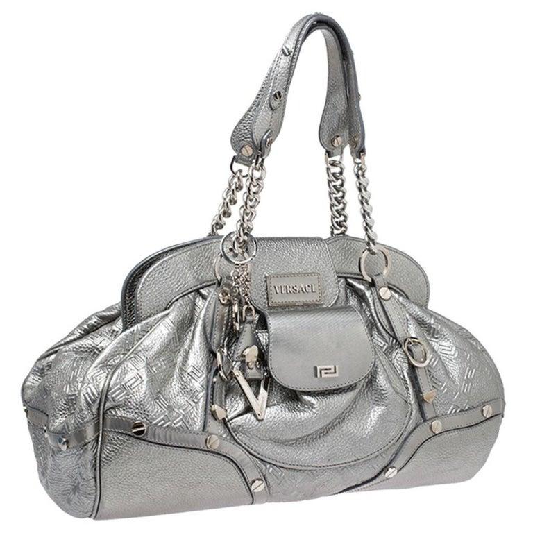 Women's Versace Metallic Silver Leather Chain Link Satchel For Sale
