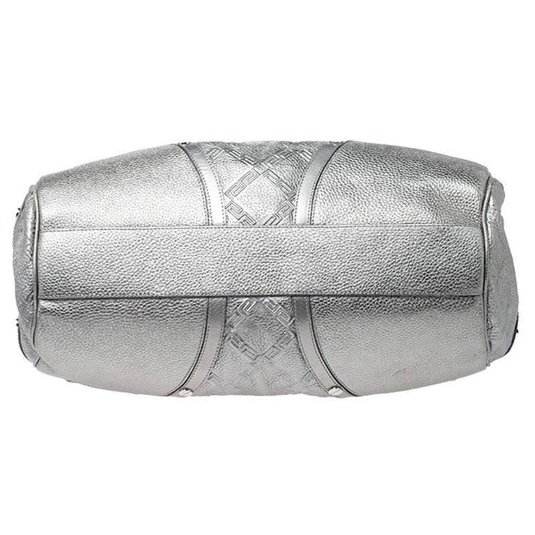 Versace Metallic Silver Leather Chain Link Satchel For Sale 1