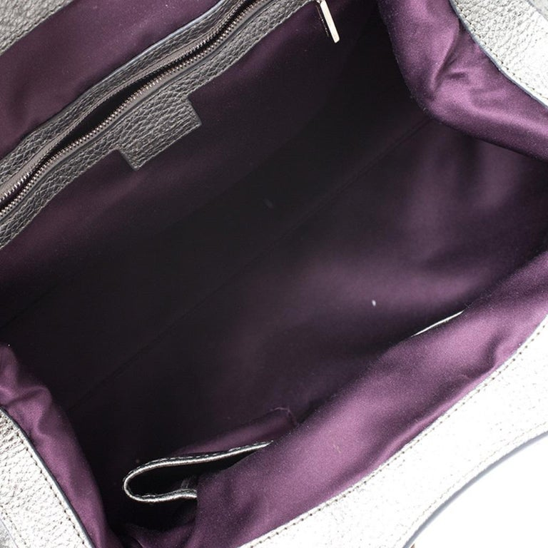 Versace Metallic Silver Leather Chain Link Satchel For Sale 2