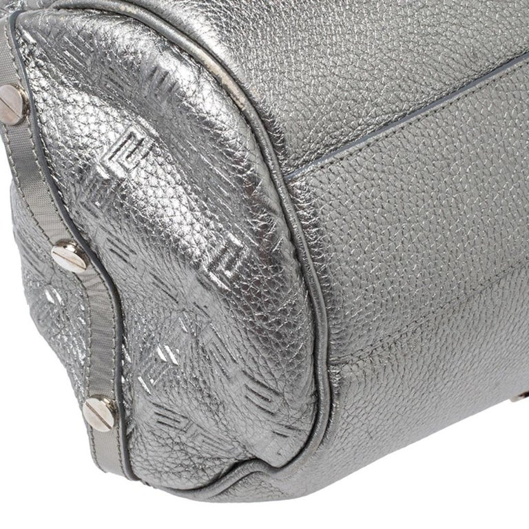 Versace Metallic Silver Leather Chain Link Satchel For Sale 3
