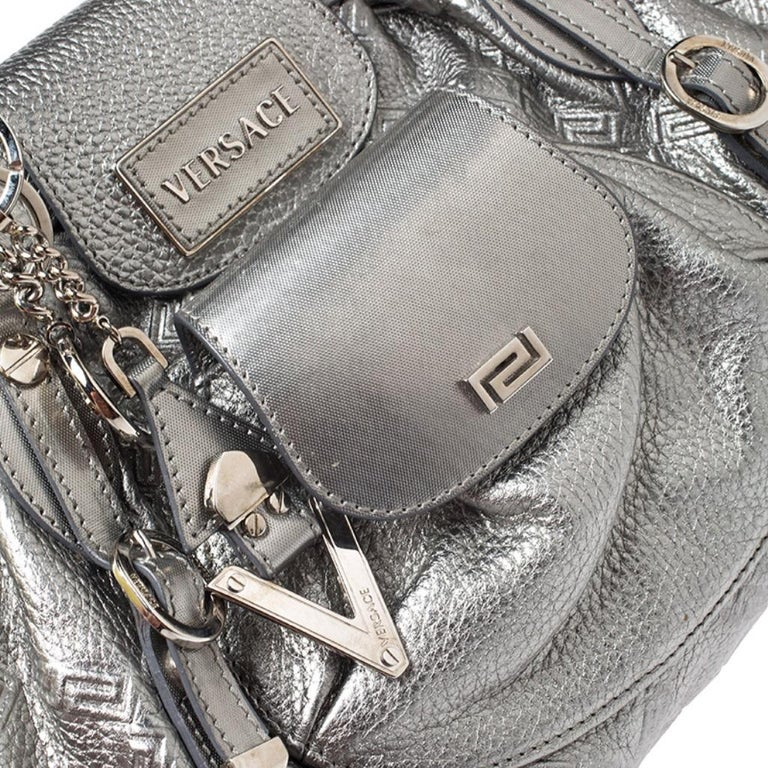 Versace Metallic Silver Leather Chain Link Satchel For Sale 4