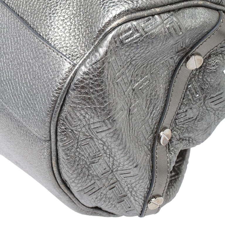 Versace Metallic Silver Leather Chain Link Satchel For Sale 5