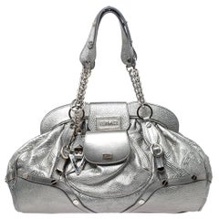 Versace Metallic Silver Leather Chain Link Satchel