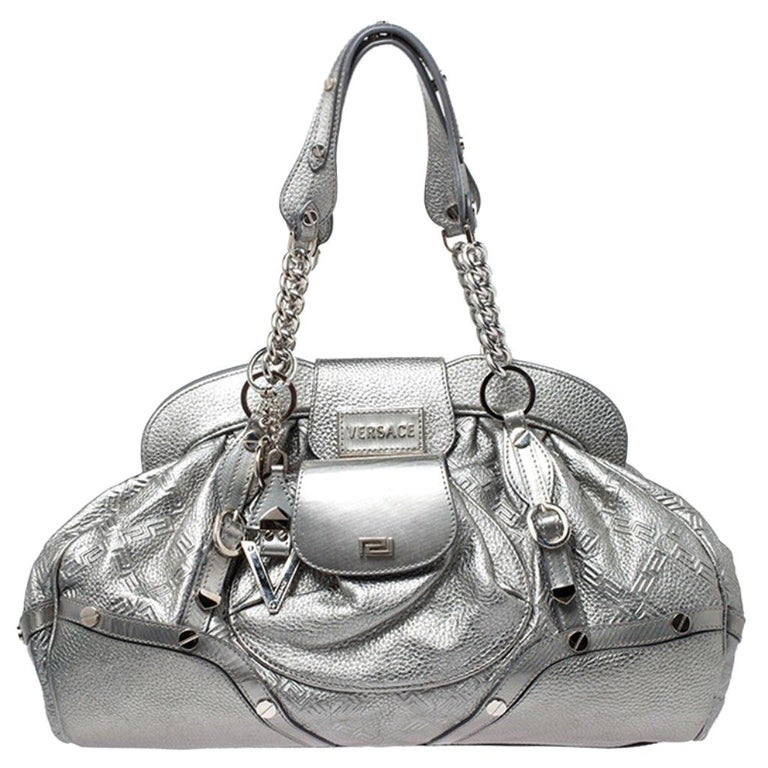 Versace Metallic Silver Leather Chain Link Satchel For Sale