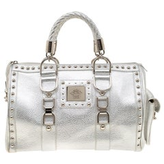 Versace Metallic Silver Leather Madonna Satchel