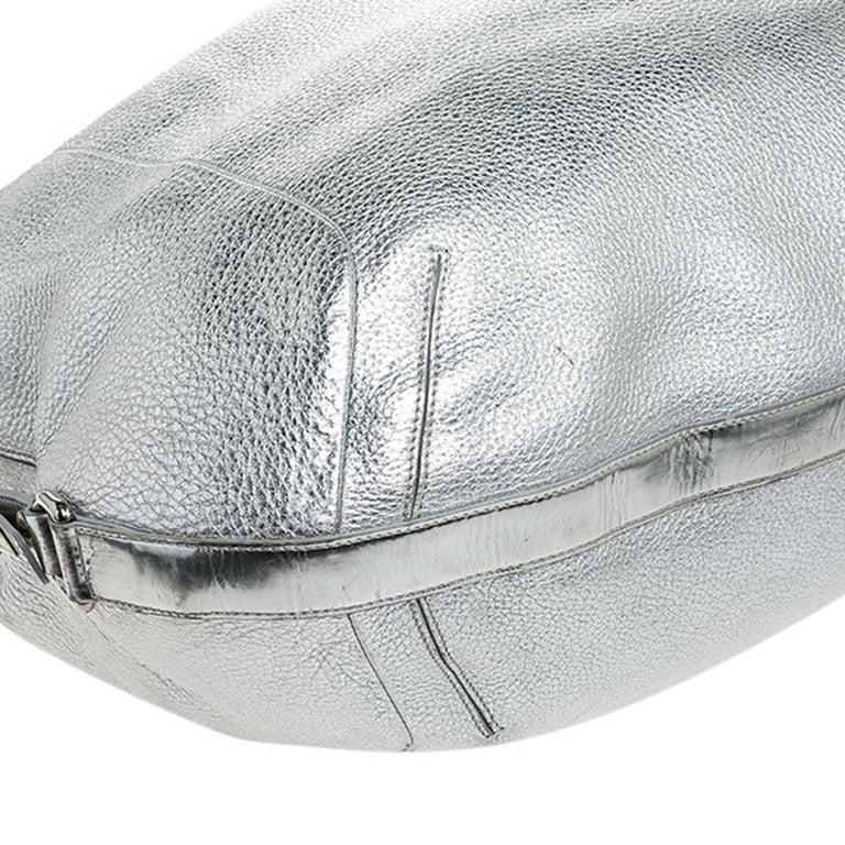 Versace Metallic Silver Leather Medusa Hobo For Sale 6