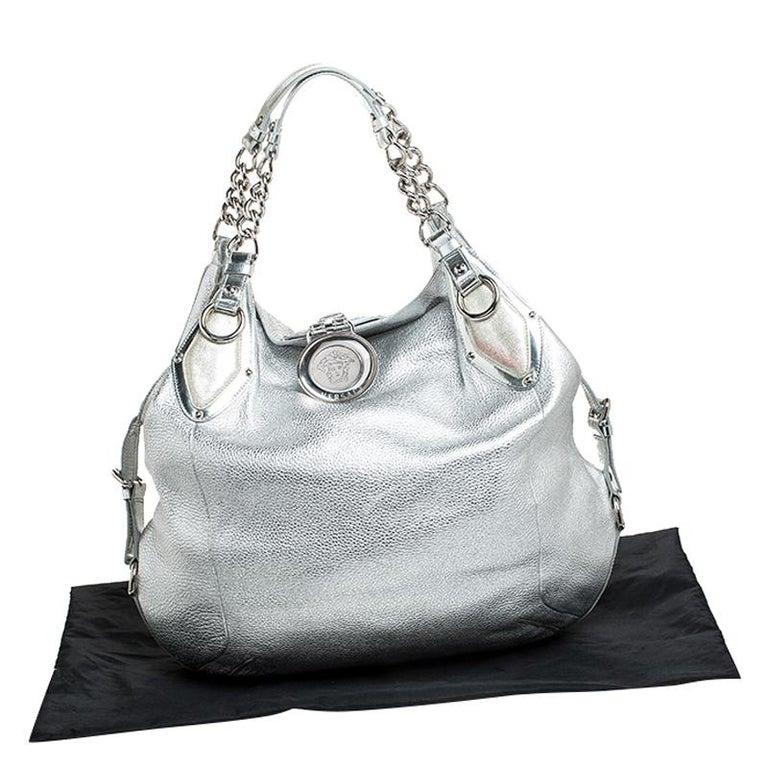 Versace Metallic Silver Leather Medusa Hobo For Sale 7