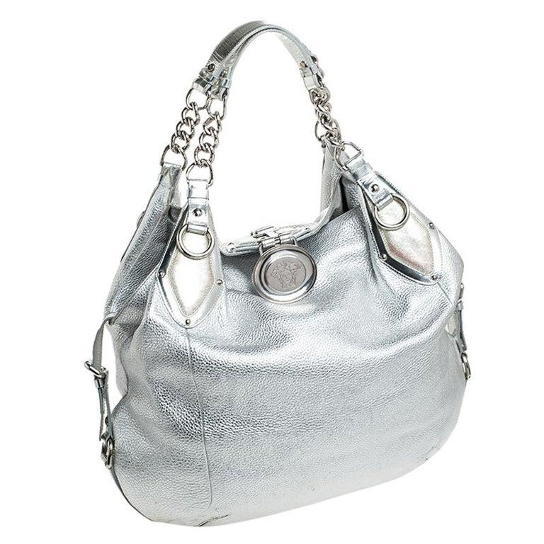 Women's Versace Metallic Silver Leather Medusa Hobo For Sale