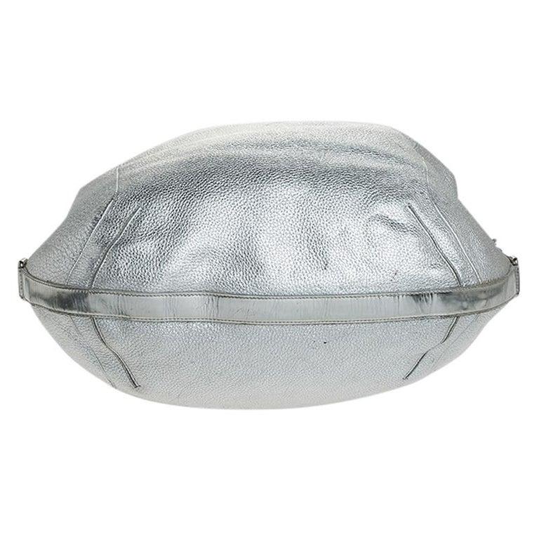 Versace Metallic Silver Leather Medusa Hobo For Sale 1