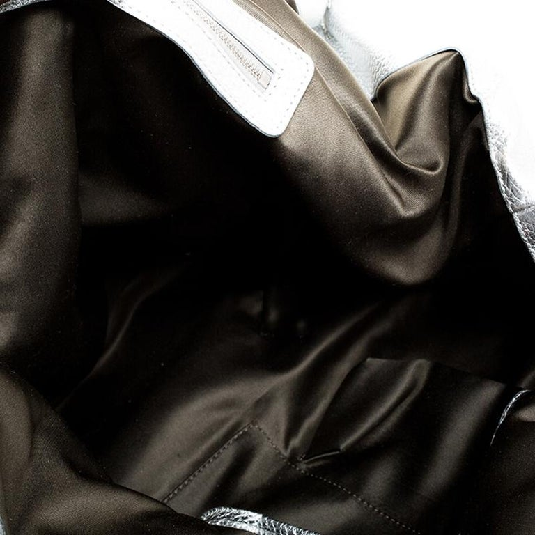 Versace Metallic Silver Leather Medusa Hobo For Sale 3