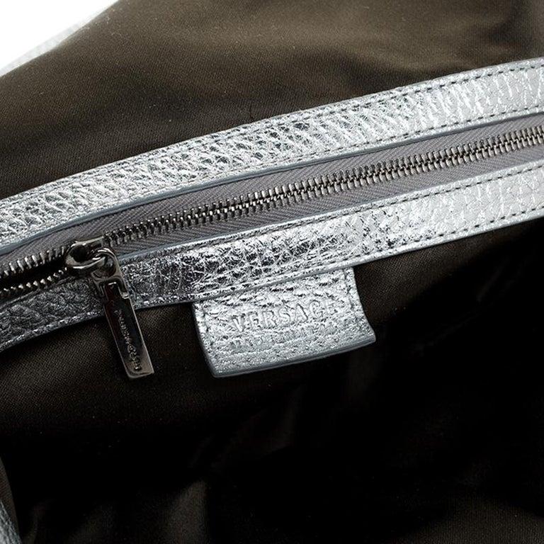 Versace Metallic Silver Leather Medusa Hobo For Sale 4