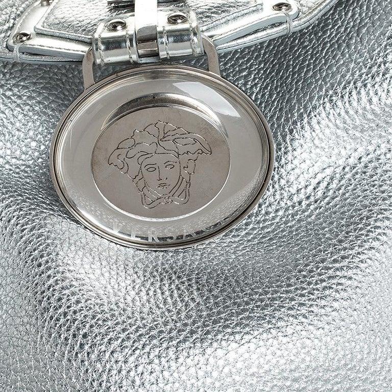 Versace Metallic Silver Leather Medusa Hobo For Sale 5