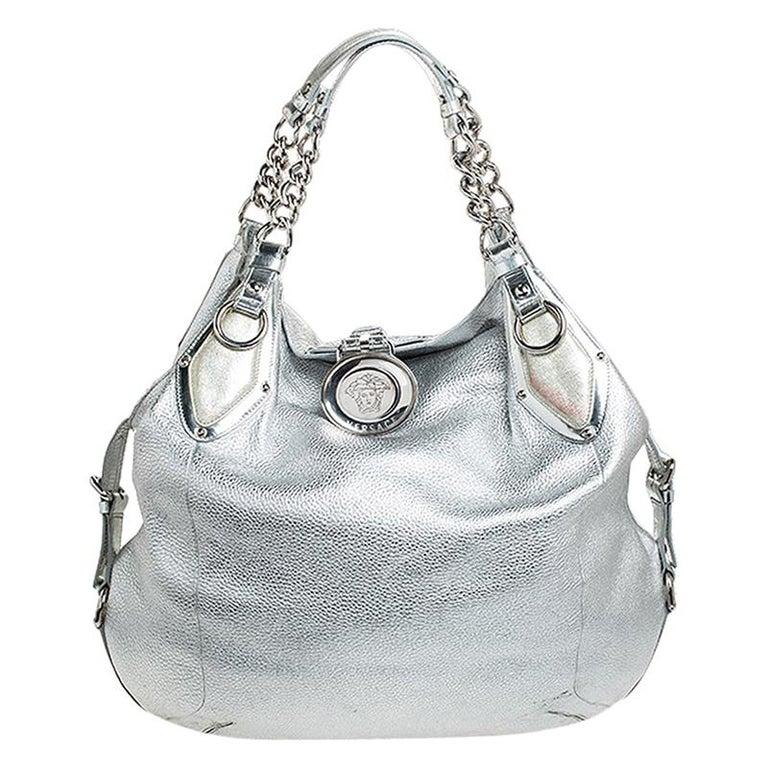 Versace Metallic Silver Leather Medusa Hobo For Sale