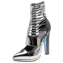 Versace Metallic Silver Leather Pointed Toe Cage Pumps Size 40