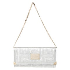 Versace Metallic White Quilted Leather Flap Chain Clutch
