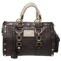 Versace Military Green Leather Snap Out Of It Satchel