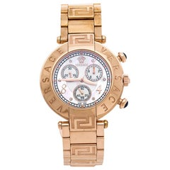 Versace Mother of Pearl Rose Gold Plated Steel Reve 68C Women's Wristwatch 40 mm