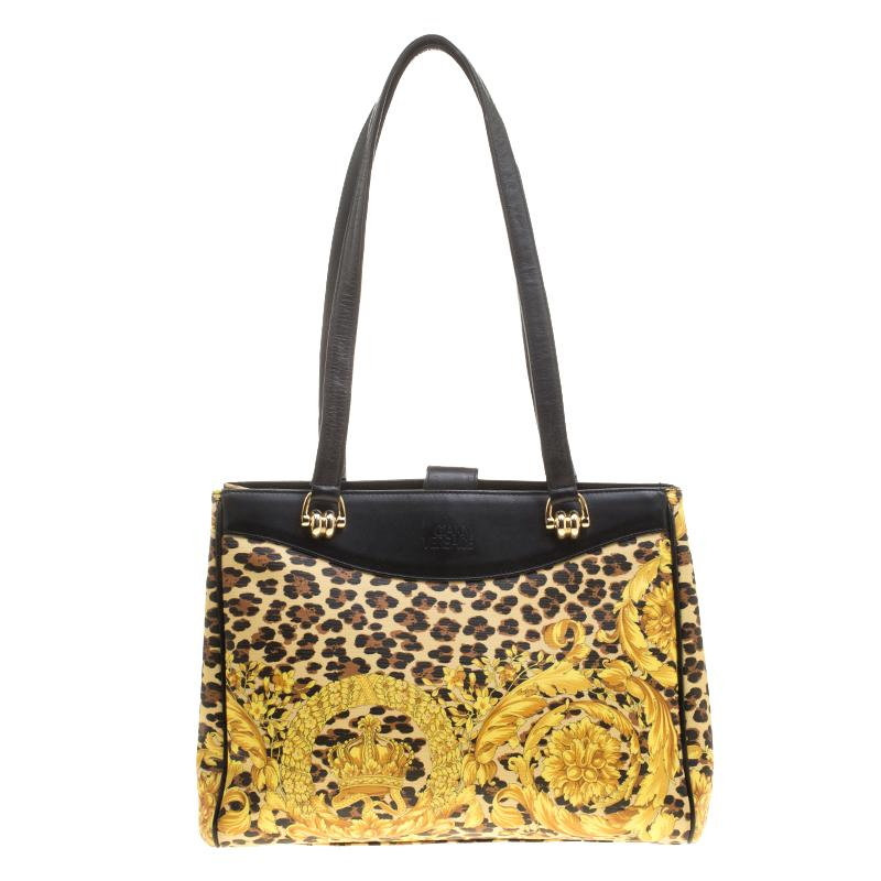 Versace Multicolor Baroque Leopard Print Tote For Sale at 1stdibs 9ab5675e68ab8