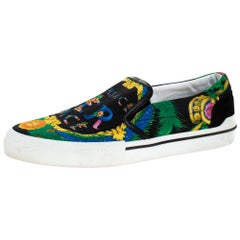 Versace Multicolor Beverly Palm Print Canvas And Leather Trim Sneakers Size 43