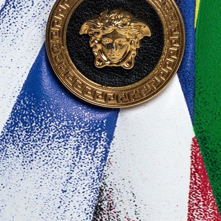 Versace Multicolor Clash Print Icon Leather Wristlet For Sale 6