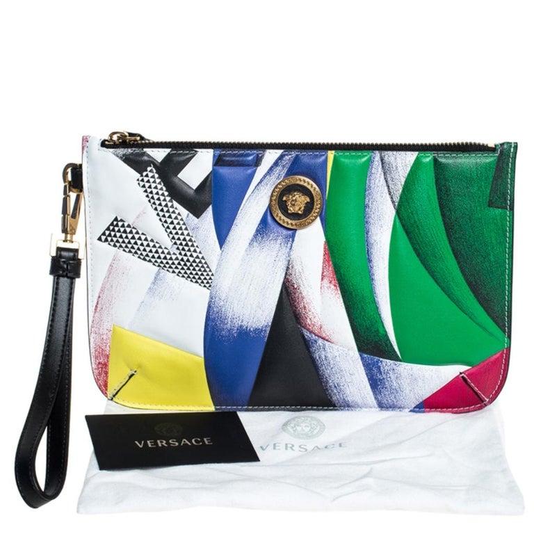 Versace Multicolor Clash Print Icon Leather Wristlet For Sale 7