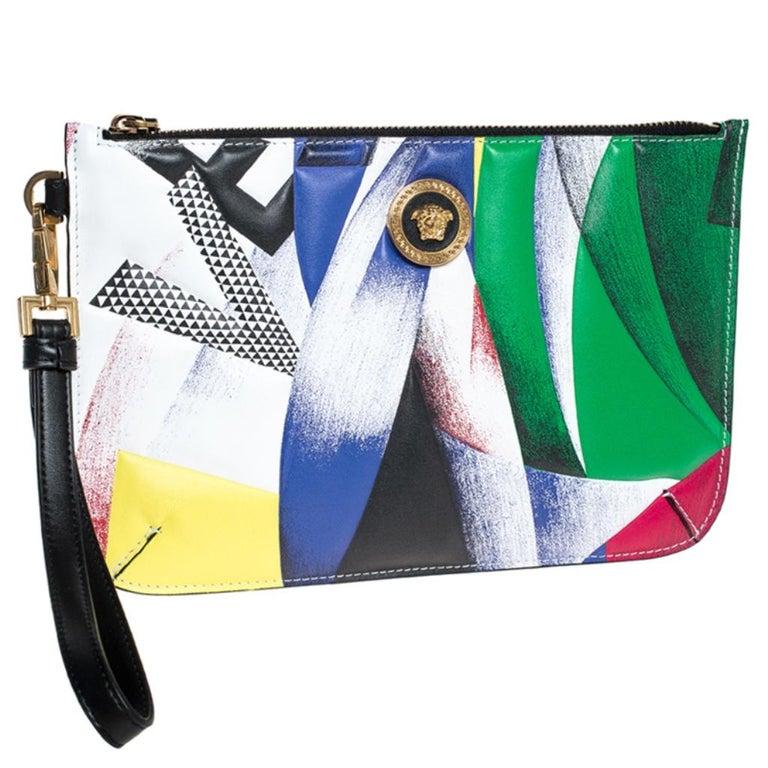 Women's Versace Multicolor Clash Print Icon Leather Wristlet For Sale