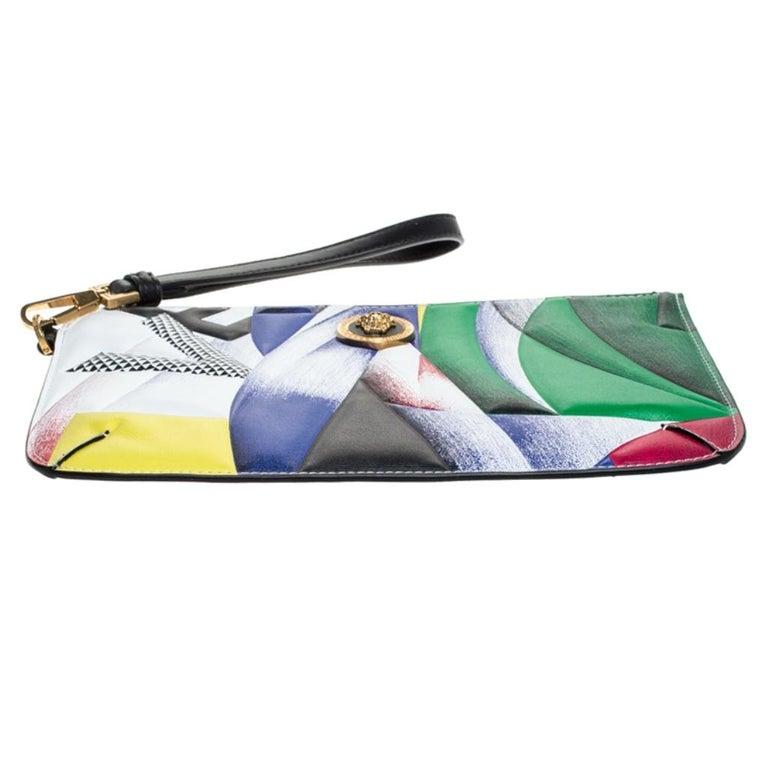 Versace Multicolor Clash Print Icon Leather Wristlet For Sale 1