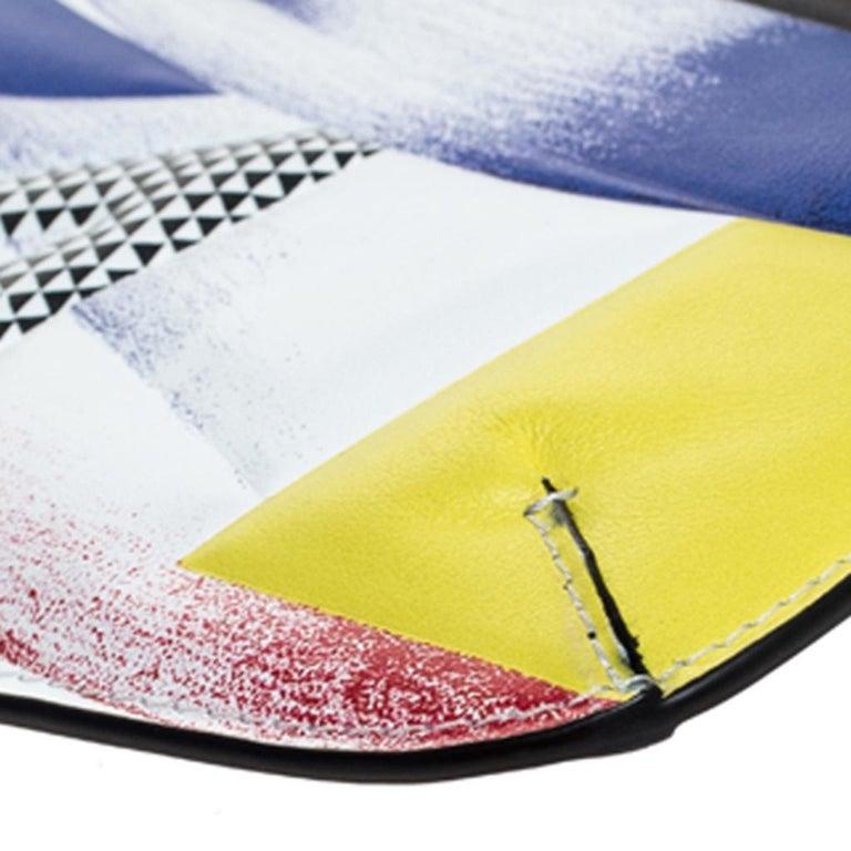 Versace Multicolor Clash Print Icon Leather Wristlet For Sale 2