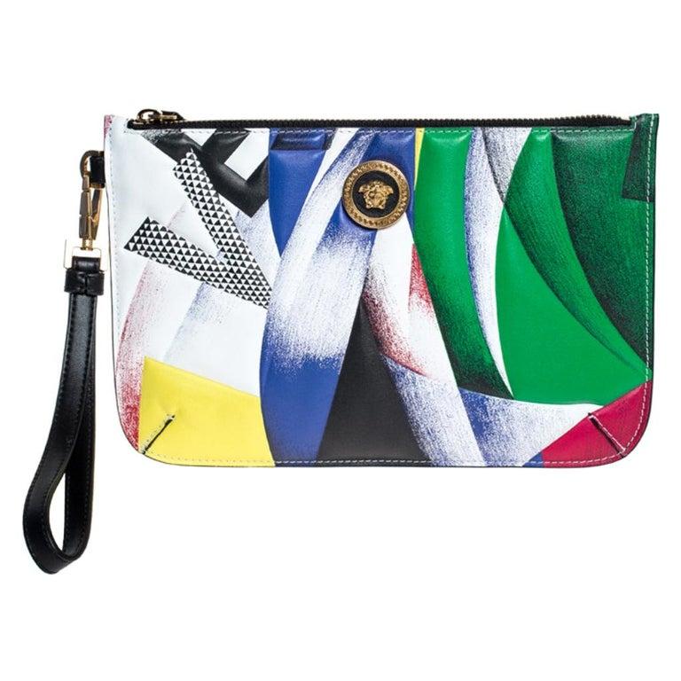Versace Multicolor Clash Print Icon Leather Wristlet For Sale