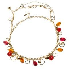 Versace Multicolor Crystal Gold Tone Necklace