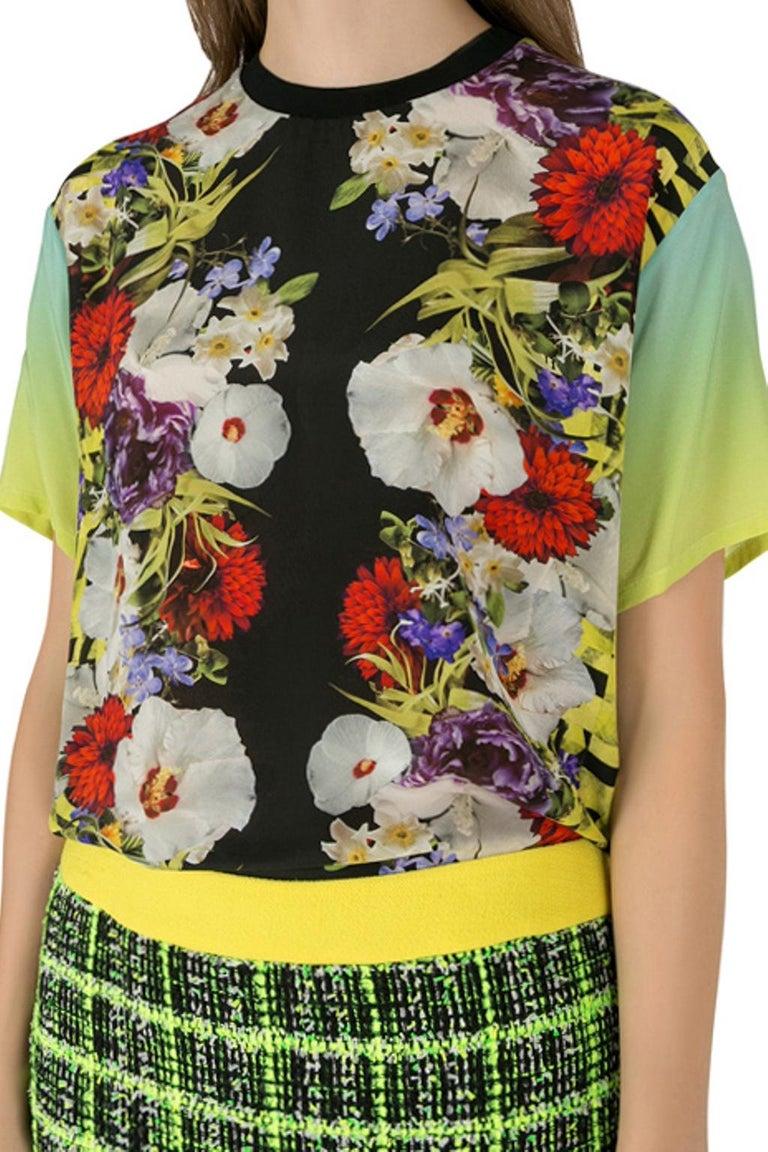 Versace Multicolor Floral Print Silk Ombre Sleeve Detail Crew Neck T Shirt M In New Condition For Sale In Dubai, Al Qouz 2