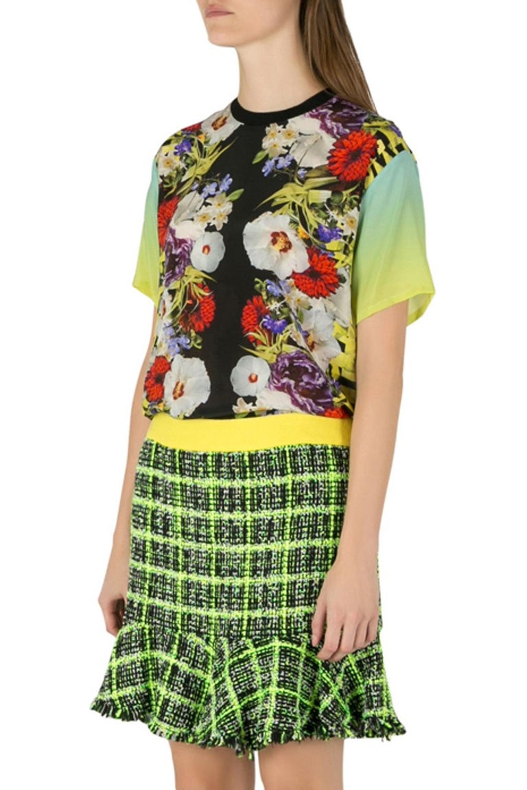 Women's Versace Multicolor Floral Print Silk Ombre Sleeve Detail Crew Neck T Shirt M For Sale