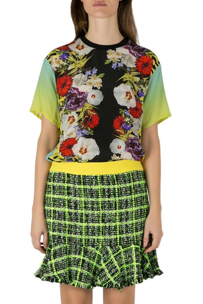 Versace Multicolor Floral Print Silk Ombre Sleeve Detail Crew Neck T Shirt M For Sale 1