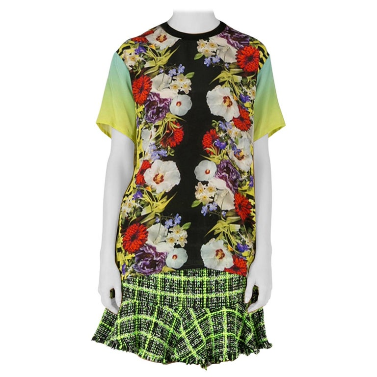 Versace Multicolor Floral Print Silk Ombre Sleeve Detail Crew Neck T Shirt M For Sale