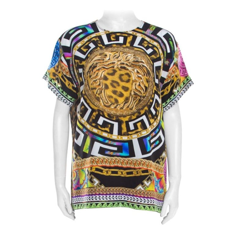 Versace Multicolor Medusa and Leopard Print Silk Boxy Fit Blouse S For Sale