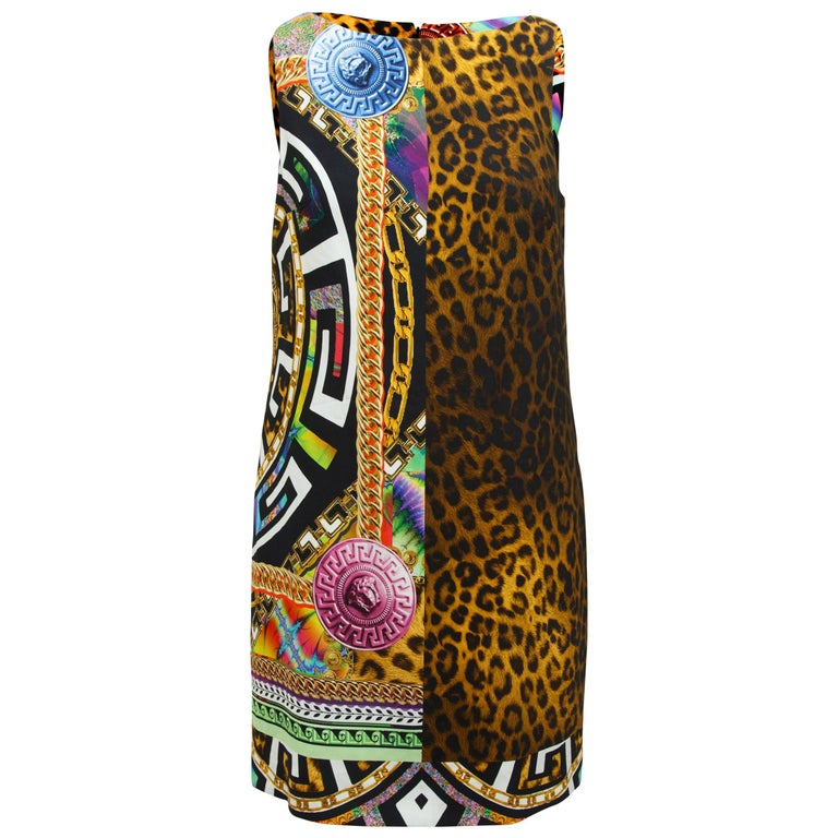 Versace Multicolor Mixed-Print Shift Dress For Sale