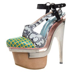 Versace Multicolor Printed Leather Triple Metal Heel Ankle Strap Sandals Size 39