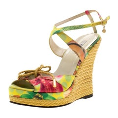 Versace Multicolor Printed Satin Espadrille Wedge Platform Sandals Size 39