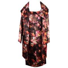 VERSACE Multicolor Silk SHORT SLEEVE DRESS & COAT Set SUIT Sz 40-42