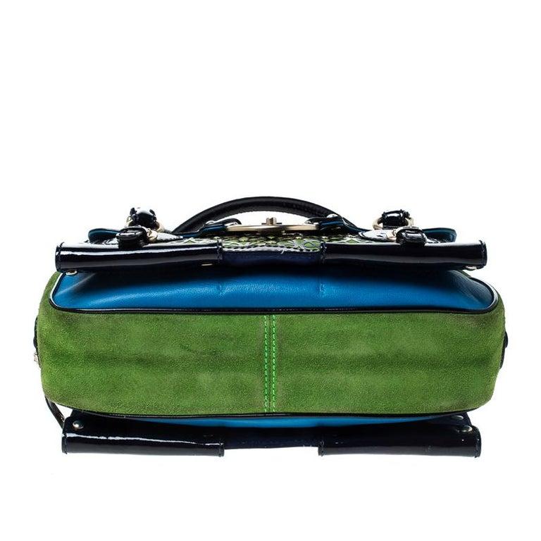 Versace Multicolor Suede and Patent Leather Lazer Cut Satchel For Sale 5