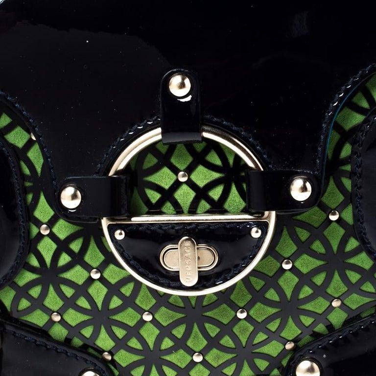 Versace Multicolor Suede and Patent Leather Lazer Cut Satchel For Sale 6