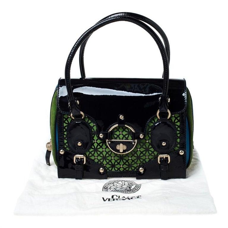 Versace Multicolor Suede and Patent Leather Lazer Cut Satchel For Sale 7