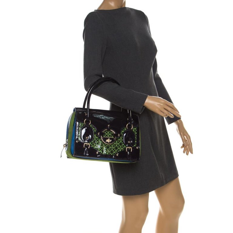 Black Versace Multicolor Suede and Patent Leather Lazer Cut Satchel For Sale